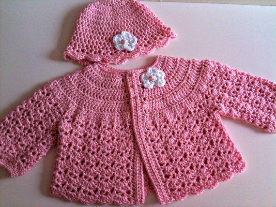 Crochet Baby Sweater Hat Set Pale Pink | Crochet baby sweaters ...