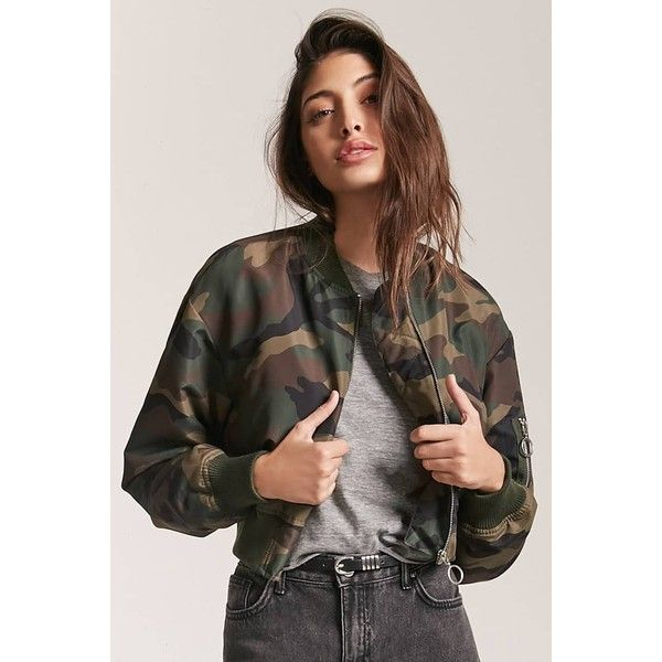 c405efe0e4837 Forever 21 Camo Print Bomber Jacket Olive/brown ($30) ❤ liked on Polyvore  featuring outerwear, jackets, flight jackets, camouflage bomber jacket, camo  ...