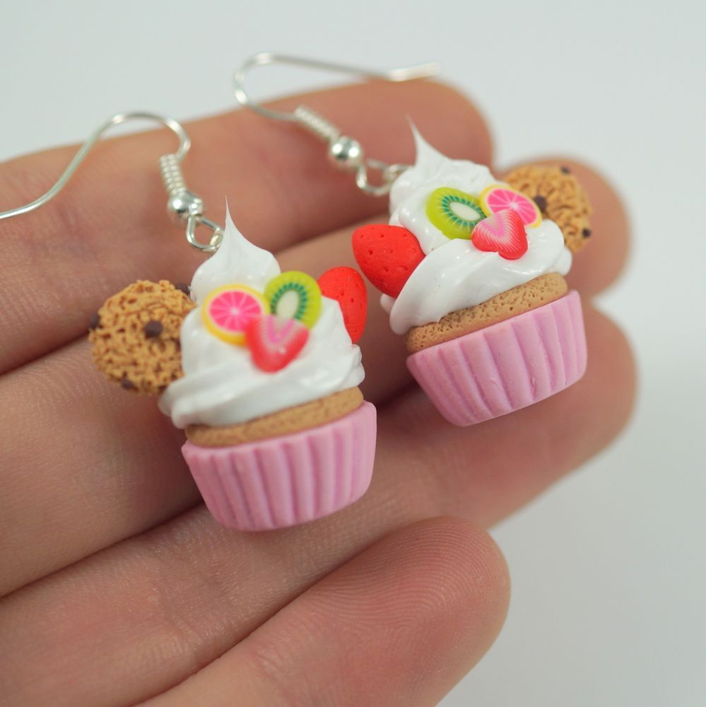 cupcake earrings,Miniature Food, Polymer Clay Miniatures, Fake Food Miniature #FIMO