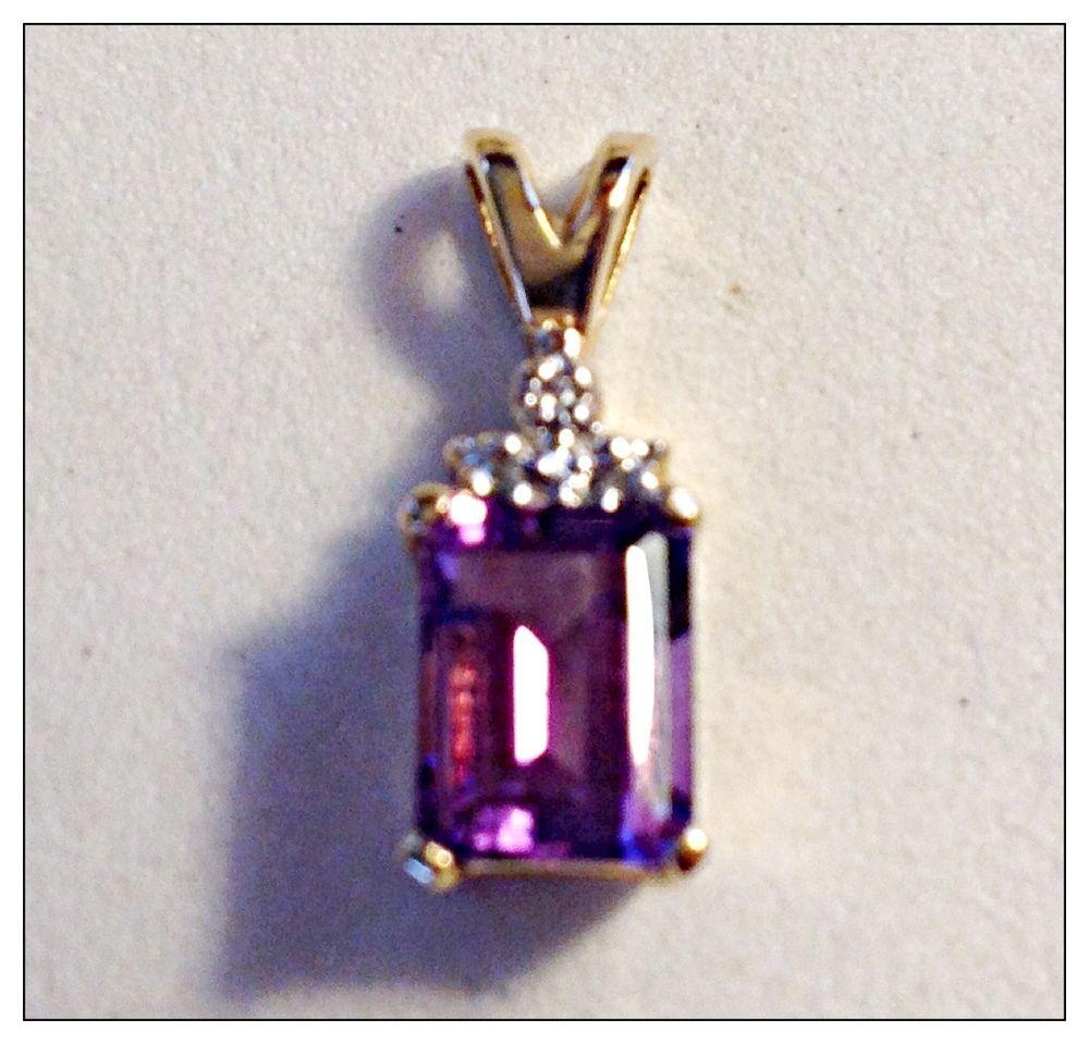 #14K #Gold #Purple #Amethyst #Diamond #Gemstone #Pendant $225 #Designer #Jewelry #MadeUSA #FreeShipUSA 14K Gold Purple Amethyst Gemstone Pendant Slide for your chain Designer Made USA #Handmade #Pendant
