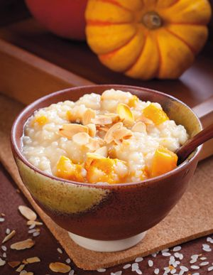 Roasted Pumpkin Congee with Toasted Almonds