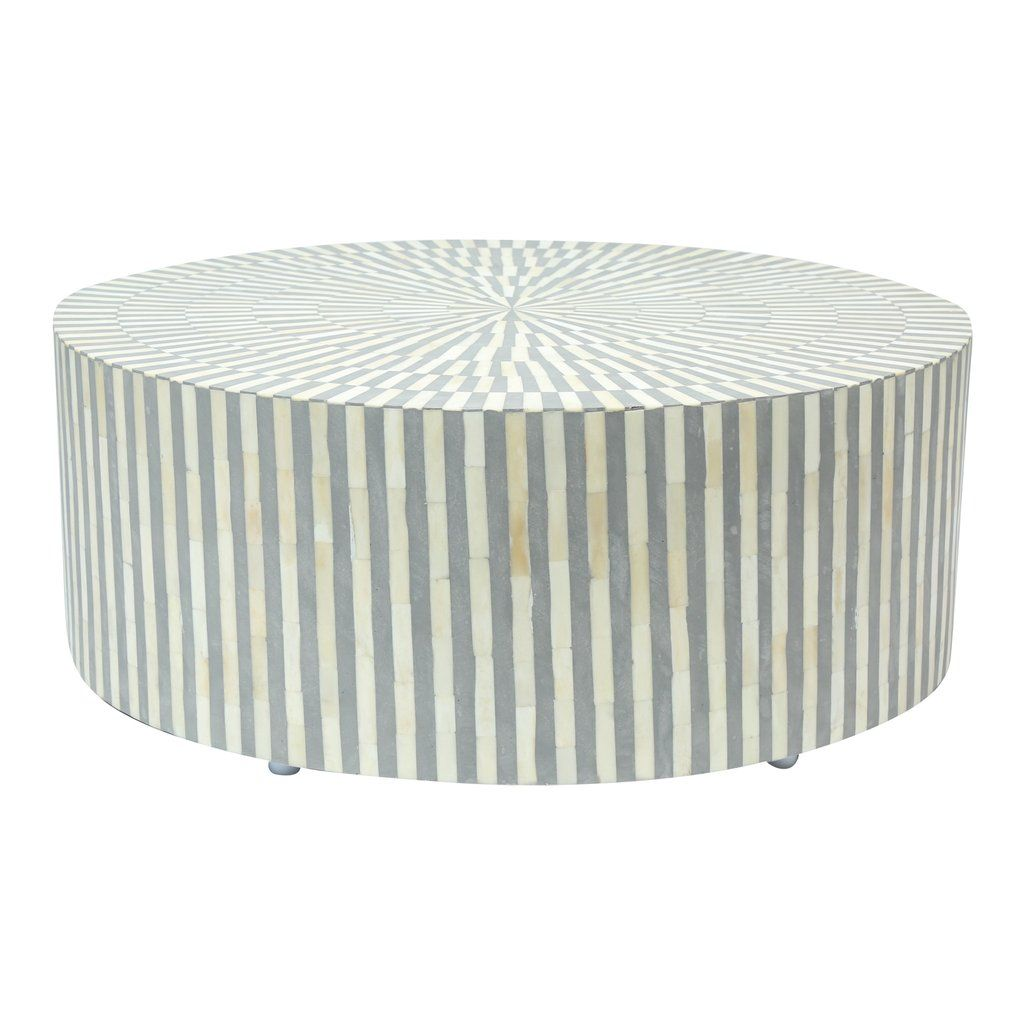 Bone Inlay Coffee Table Round Grey Stripe Round coffee