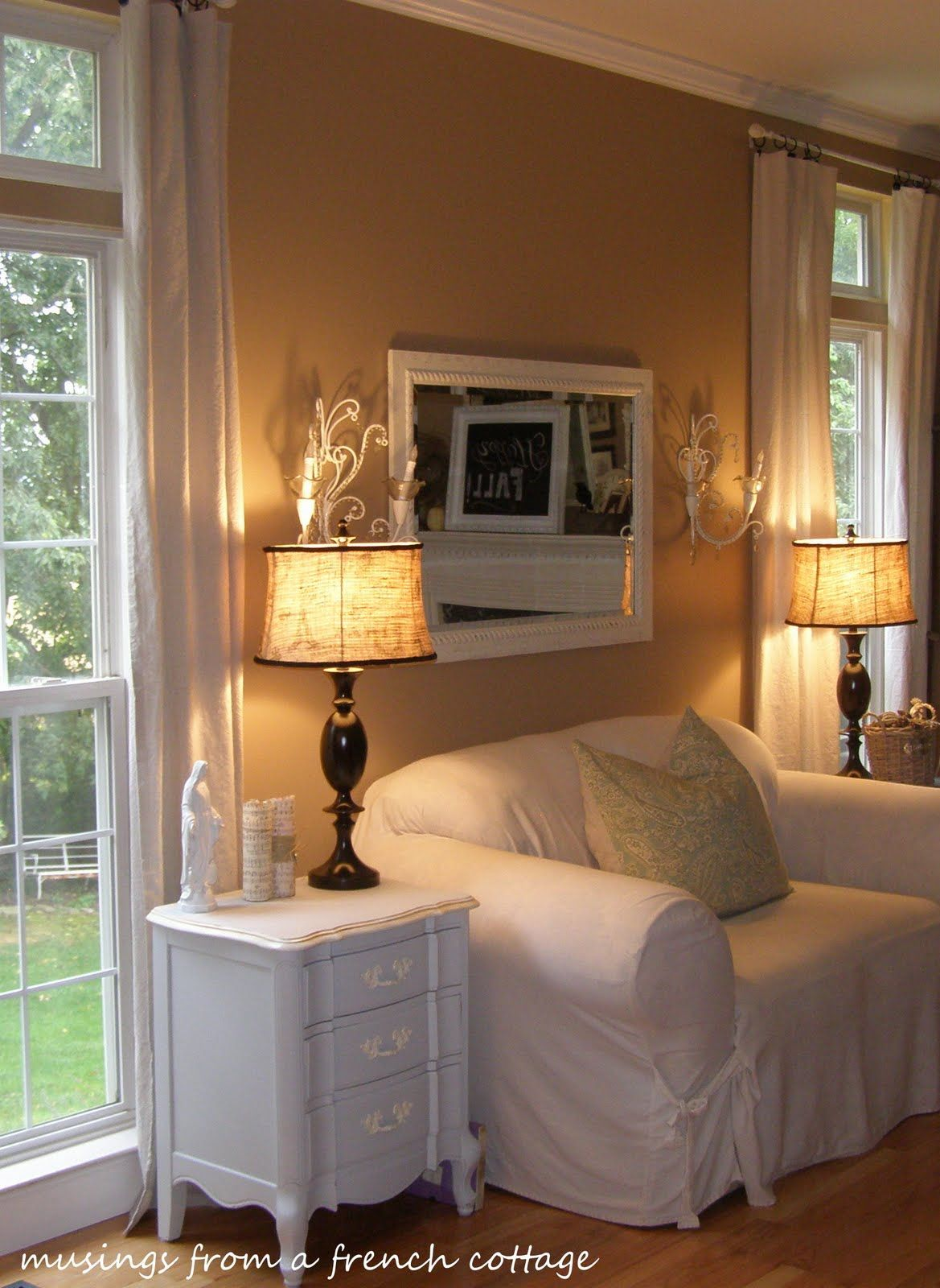 Musings From A French Cottage: Painter's Drop Cloth Curtains