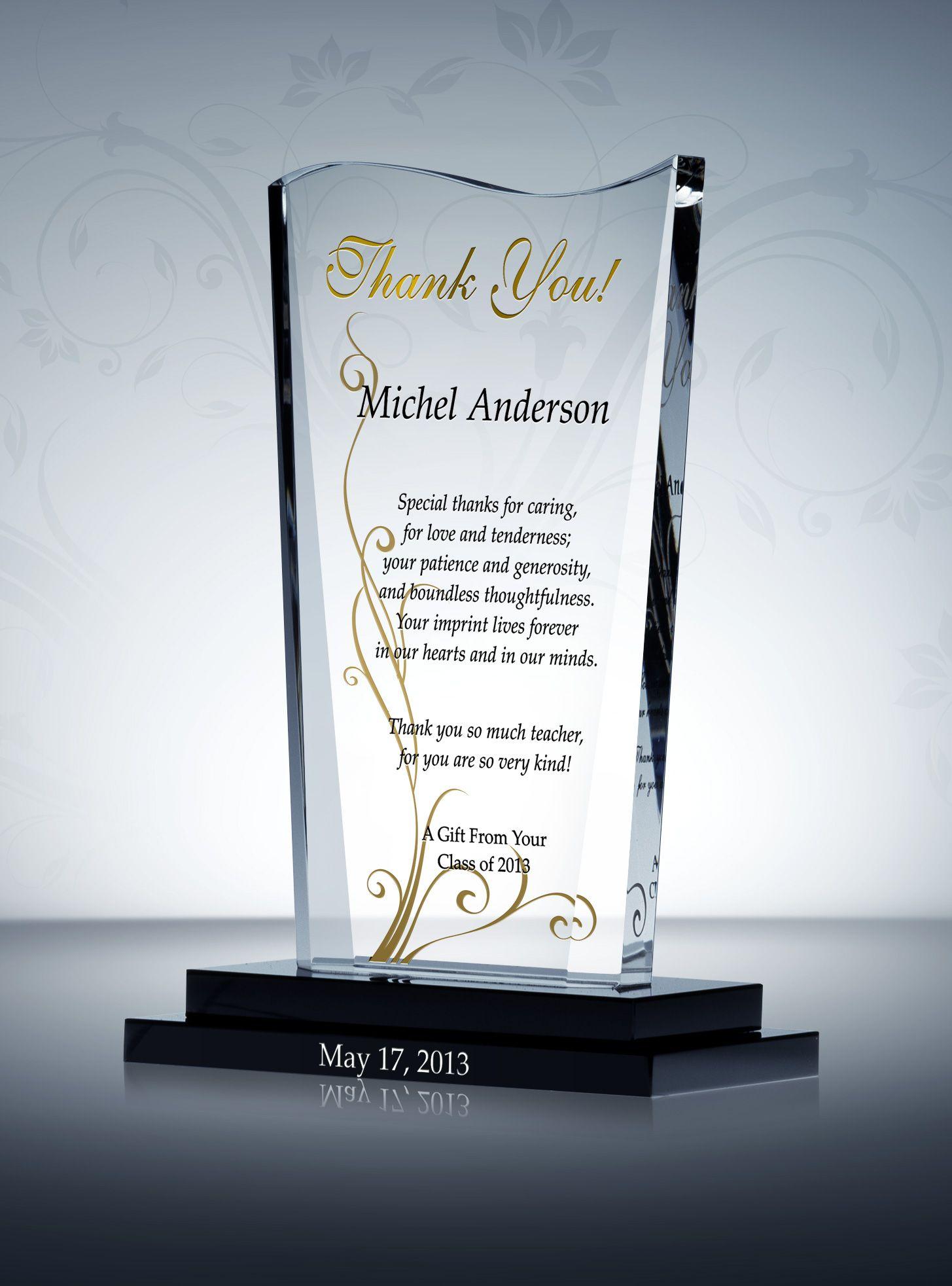 Wave-shaped Appreciation Award Plaque | Thank you teacher ...
