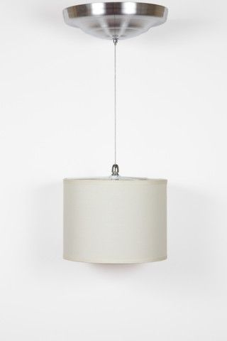 Item 002969 Battery Ed Led Pendant Light With Nickel Finish And Fabric Shade Remote Control Exclusive