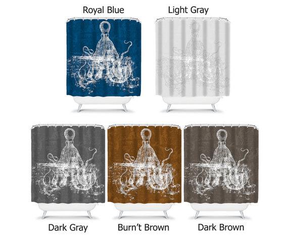 Octopus Shower Curtain Brown Shower Curtain Brown Bathroom Decor