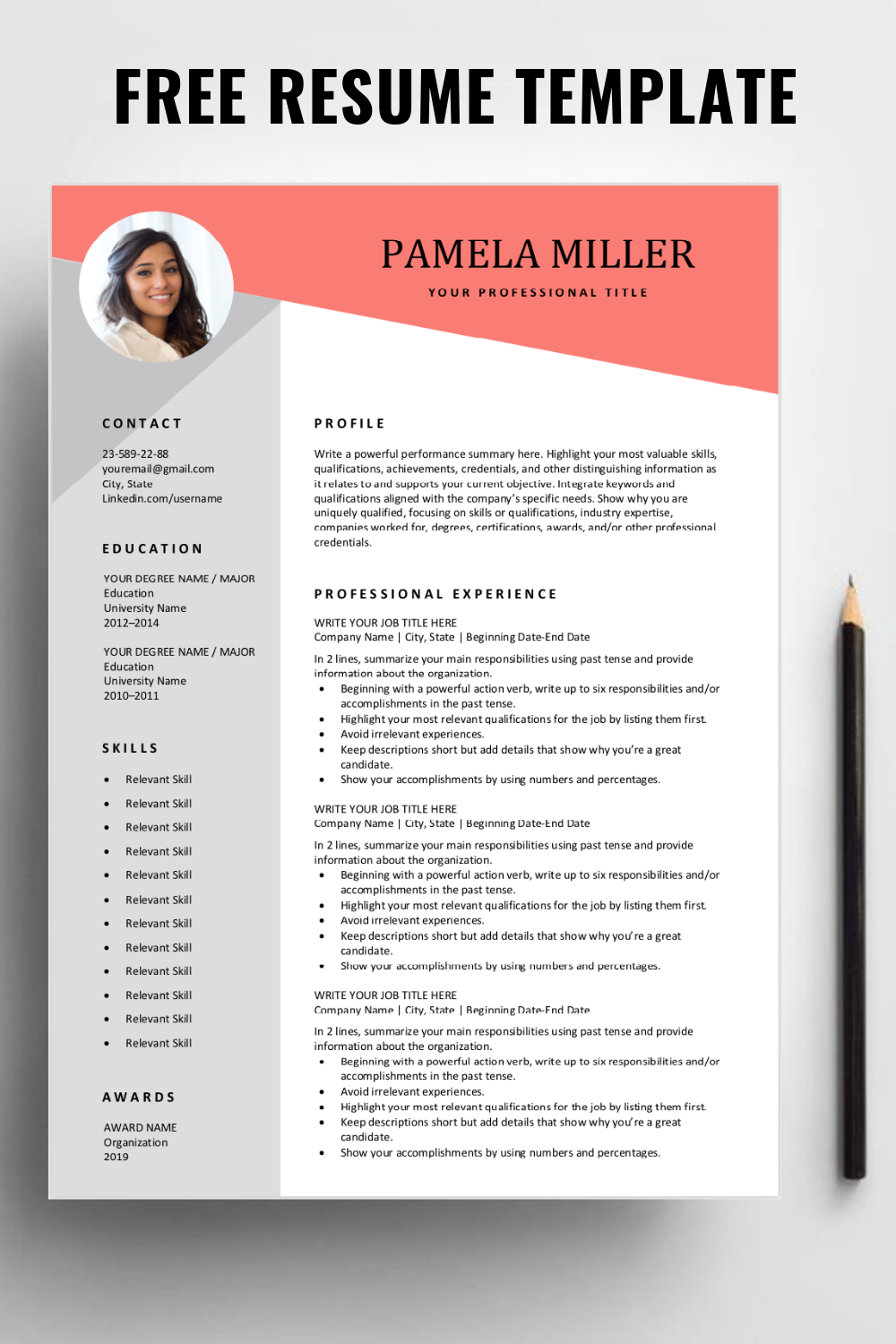 Free Resume Template In 2020 Resume Template Free Downloadable Resume Template Free Resume Template Download