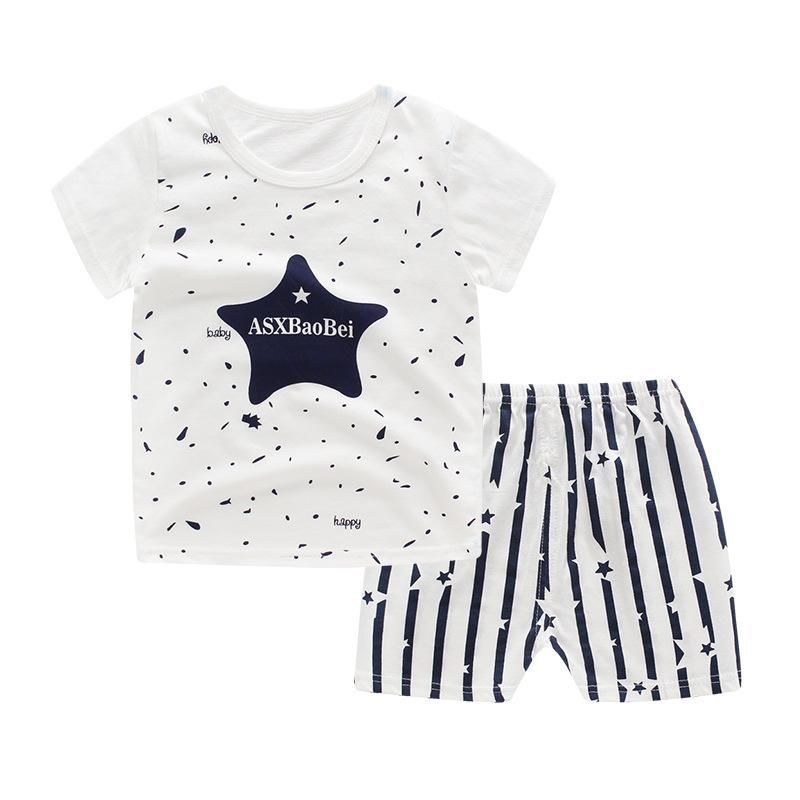 71d32030c85 Baby Boys Clothes 2018 Summer Cotton Casual Short Sleeve T-shirt+Shorts  2Pcs Outfit Boys Tops Toddler Kids Clothing Sets JTX03