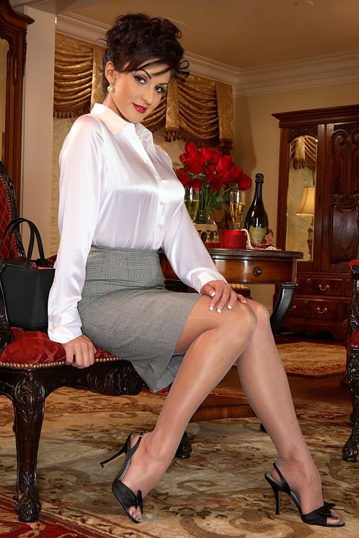 Secrets In Lace Satin Blouse Pencil Skirt Stockings ...