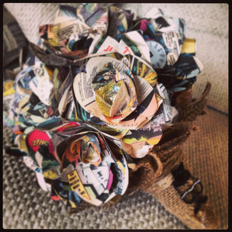 Paper flower Wedding Bouquet made from old Batman Comics Wedding