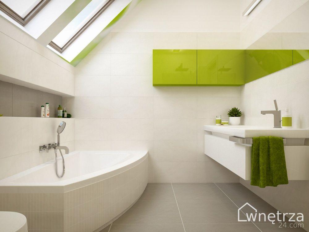 Projekt łazienki Biało Zielonej łazienka Szarybiały