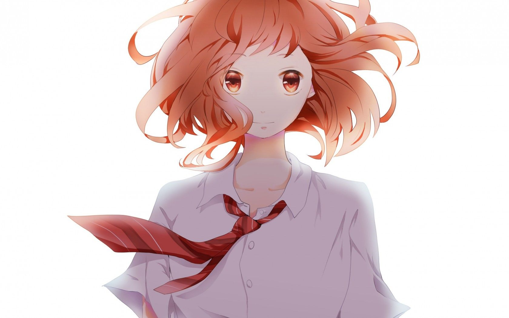 anime girl, sachi, caravat, big eyes, cuties, redhair ...