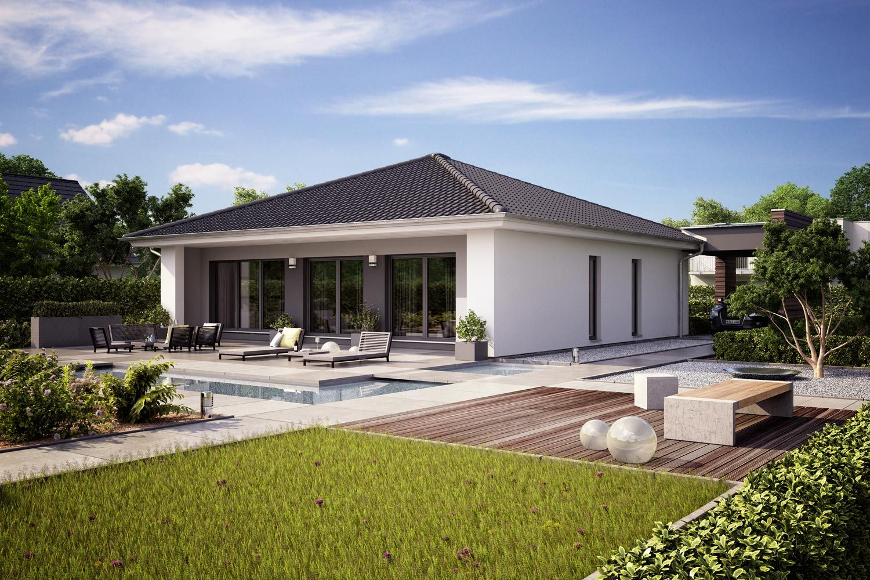 Fertighaus architektenhaus finess kubistischer bungalow for Walmdach modern