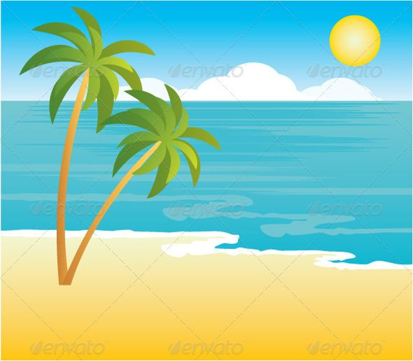Cartoon clouds beach. With palm trees travel