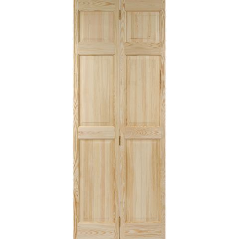 Colonial 6 Panel Clear Pine Bifold Interior Door Next Day Delivery