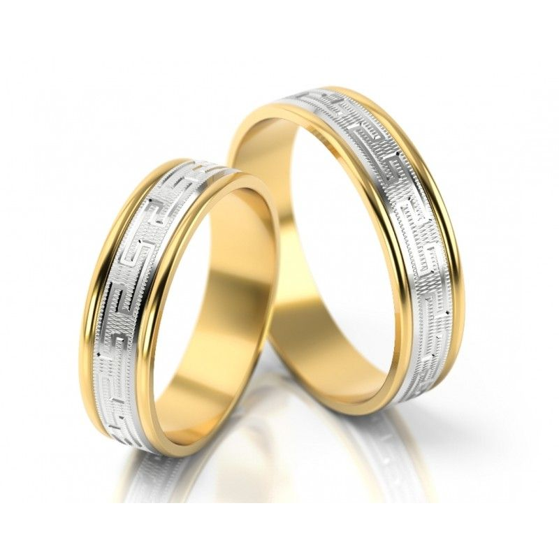 Trauringe Mit Griechischem Muster Bicolor Ringe Manner Ringe Trauringe Ring Verlobung