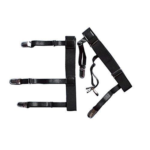 de5feae9829 Jelinda 1 Pair Mens Adjustable Shirt Stay Garters Belt with Nonslip Locking  Clamps