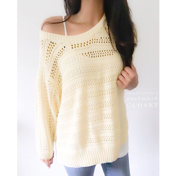 "Billowy Soft Yellow Knit Sweater This sweater has a pretty open knit with wide dolman style sleeves & a pretty light yellow color. {actual color of item may vary slightly from photos}  •shoulders:17.5"" •chest:20.5"" •waist:22""w •length:24.5/18.5""<-the sleeves  •sleeve:17.5""  Material:60% cotton 40% acrylic  ️machine wash  Fit:could work as a large  Condition:no rips no stains  ❌no holds ❌no trades ♥️️bundles of 3/more items get 20% off Sonoma Sweaters Crew & Scoop Necks"