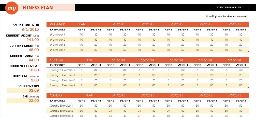 Bmi Chart Template Fitness Plan Template Free Printable Workout Log