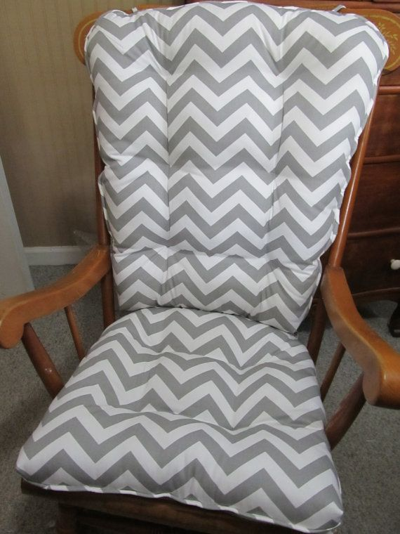 Country Rocking Chair Cushion Set in Grey and White Chevron with Self  Piping Trim and Ties  Porch  Glider  Patio  Nursery RockerCustom Country Rocking Chair Cushion Set  Grey White Chevron with  . Rocking Chair Cushion Sets For Nursery. Home Design Ideas