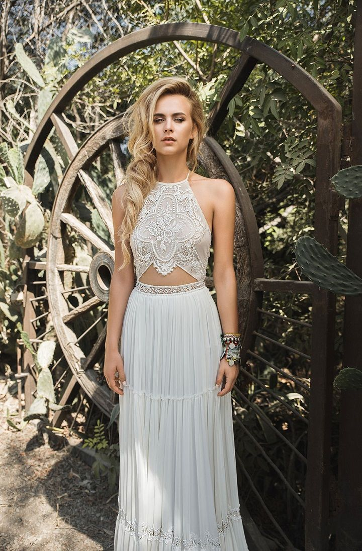 Halter neckline wedding dress by Inbal Raviv Bohemian wedding gowns : Beach wedding dress inspiration , crochet wedding dress,boho wedding gowns ,free spirit wedding gowns, laid back wedding dresses