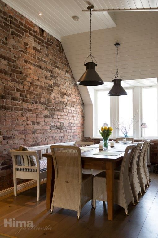 Dining Table And Old Brick Wall Home Decor Old Brick Wall