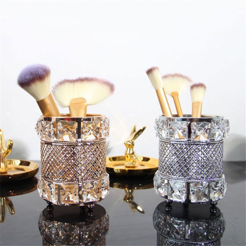 Makeup Brush Holder Crystal Beads Pen Pencil Holder