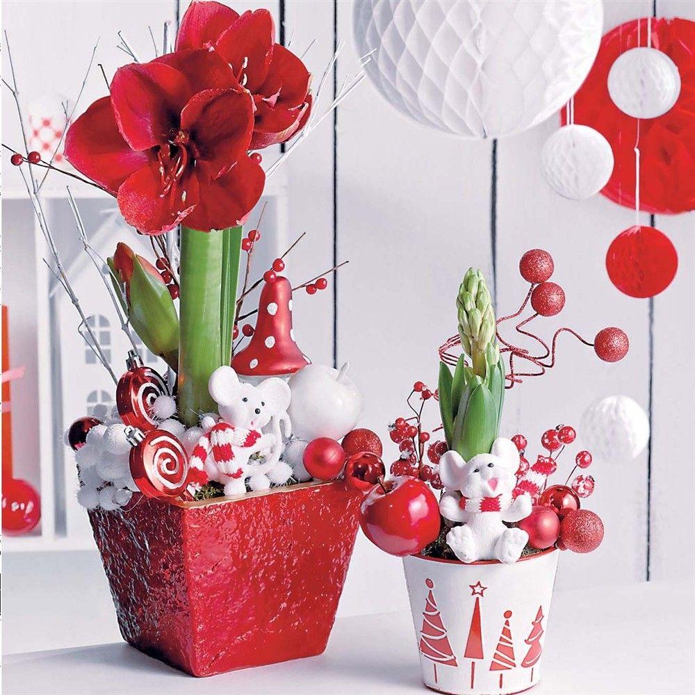 Composition d coration florale branchages et couronnes - Decoration florale noel ...