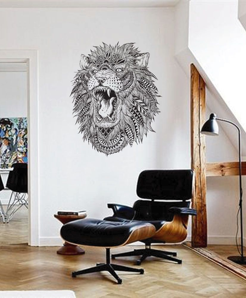 Best Ik1616 Wall Decal Sticker Lion Tiger Head Animal Predator Geometric Ebay Wall Decals Wall 400 x 300