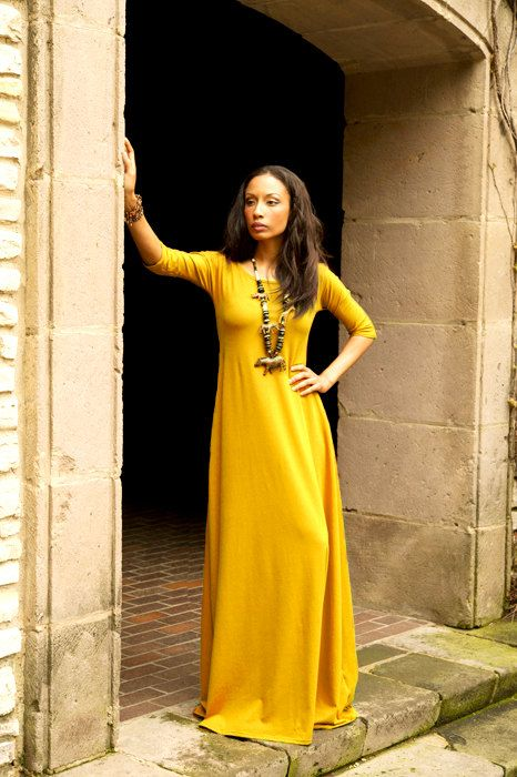 Golden Yellow Maxi Dress with 3/4 Sleeves,My 5 Favorite Etsy Finds ...