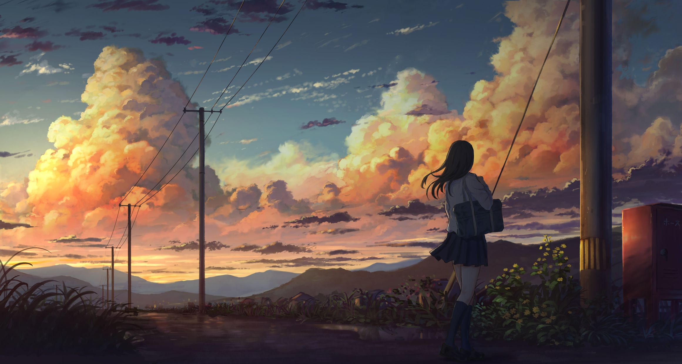 anime, anime girls, sky, clouds, summer, sunset,