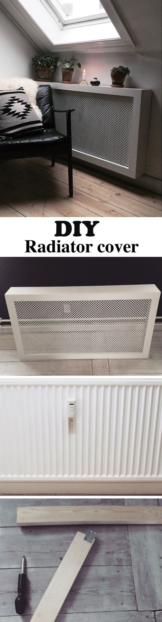 This DIY radiator cover is easy and cheap to make. It's the perfect cover for that ugly radiator in your apartment and a bonus shelf space.