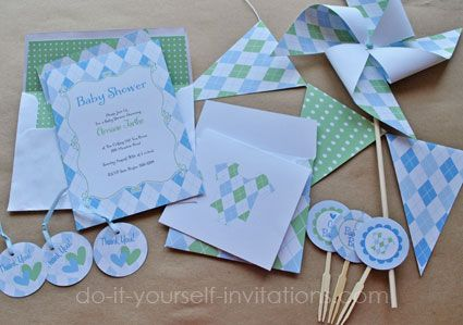 Printable blue argyle baby shower invitations kit includes 5x7 2 printable blue argyle baby shower invitations kit includes 5x7 2 sided invitation envelope liner cupcake topper favor tags pinwheels bunting flags filmwisefo