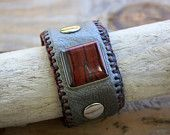 Brown Leather and Tigers Eye cuff bracelet by Bythestone on Etsy