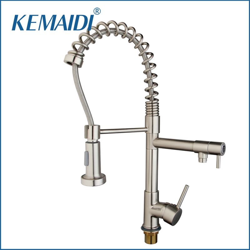 Kemaidi New Two Function Water Kitchen Faucet Nickel Brushed Custom Kitchen Taps Inspiration Design