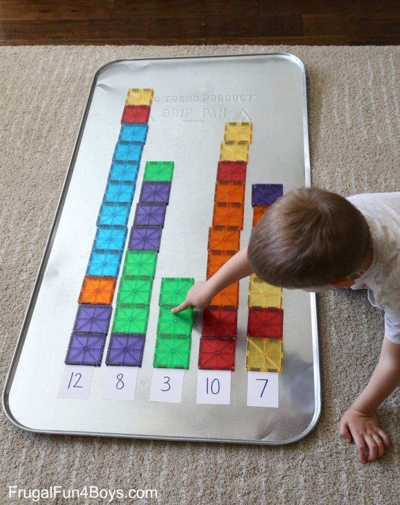 Four Math Games With Magna Tiles Magnetic Tiles Play Pinterest