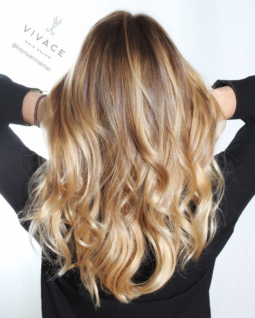 base color and blonde balayage highlights by kalyn