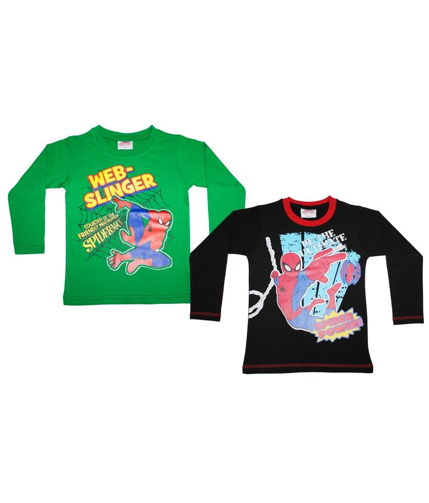 Spiderman Combo Of Green And Black Cotton T-shirts - http://babylook.in/product/spiderman-combo-of-green-and-black-cotton-t-shirts/