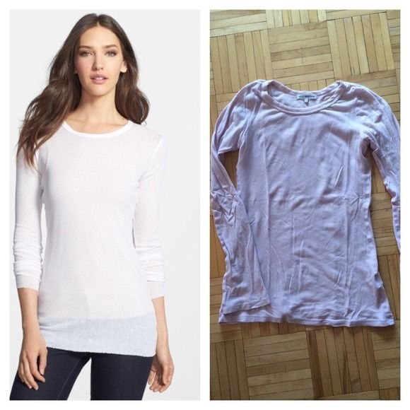James Perse ribbed jewel neck tee Crew neck and flare sleeve. Ribbed jersey, 60% cotton, 40 nylon. Long and lean, great for layering. Light lilac color. Worn once. Size 1 is a small, 33.5 bust, 15 across shoulder, 23.5 arm length. James Perse Tops