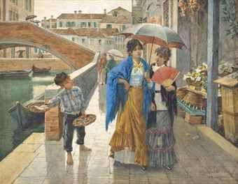 E. LEVERATE (ITALIAN, CIRCA 1884) A STREET URCHIN SELLING FISH ON A VENETIAN CANAL