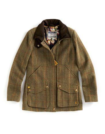 Joules tweed coat toad green