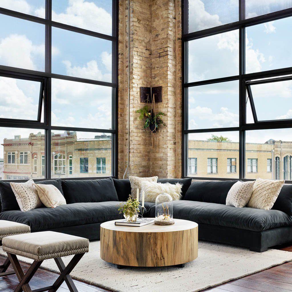 Hudson Round Coffee Table Modern Loft Apartment Modern House Design Modern Minimalist Living Room