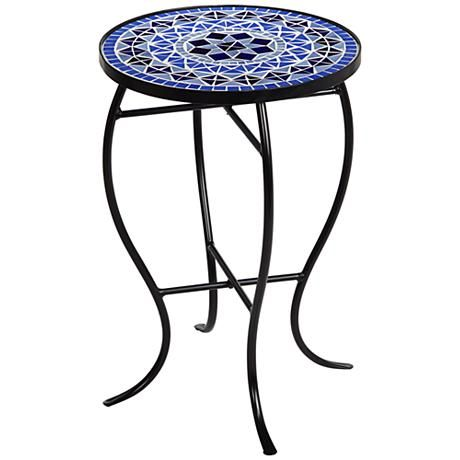 Cobalt Mosaic Black Iron Outdoor Accent Table 6f095 Lamps