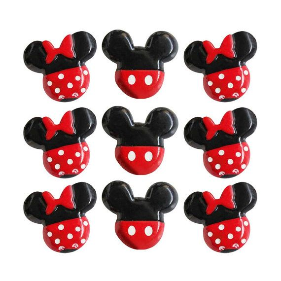15pcs Cute Mickey Minnie Mouse Head Bow Resin Cabocn Flatbacks ...