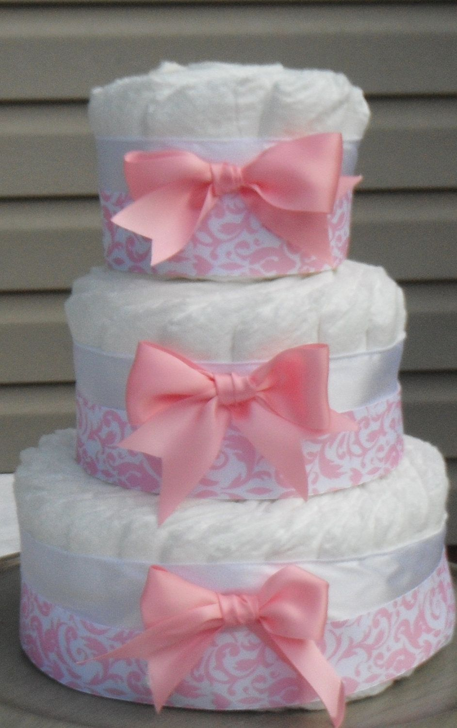 Pink damask diaper cake for girls baby shower gift baby for Pink diaper bouquet