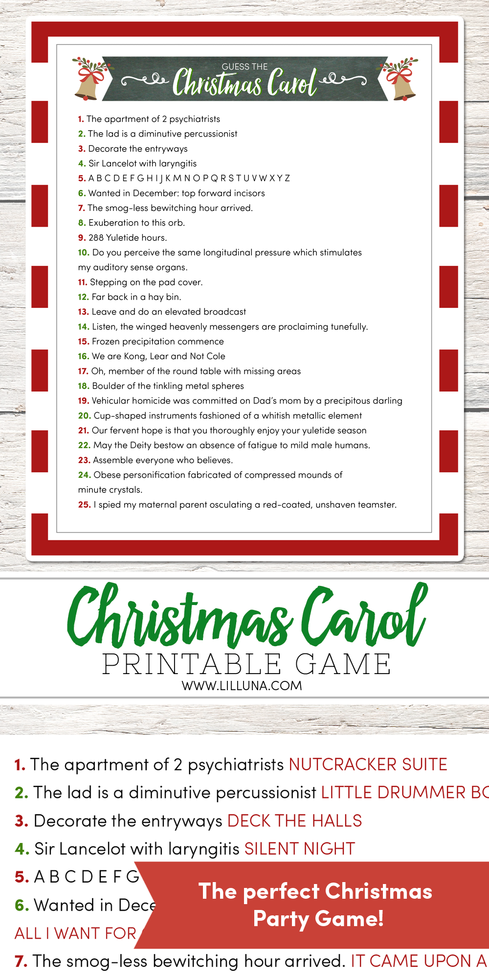 Guess the Christmas Carol Game Christmas party games