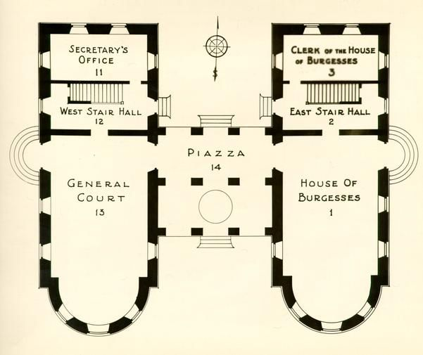 Colonial Williamsburg Capitol Building Ground Floor Capitol Building Architecture Plan Architecture Drawing