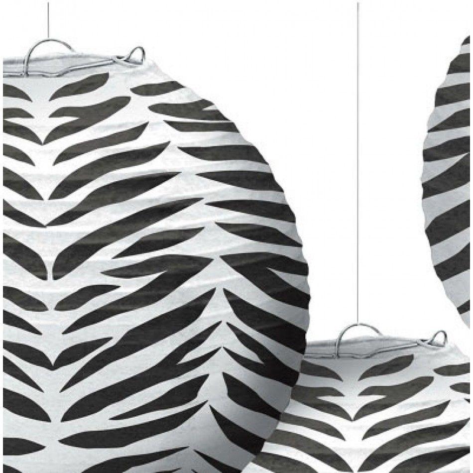 Zebra Print Paper Lanterns Set of   Zebra Paper