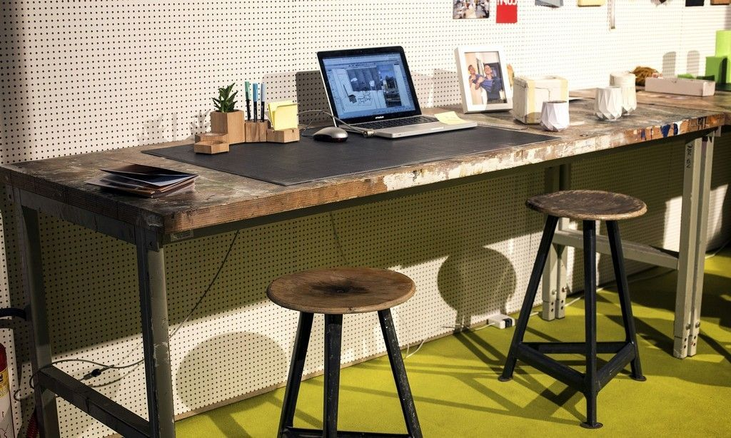 Merveilleux Industrial Home Office Desk In Wood And Metal Design Ideas