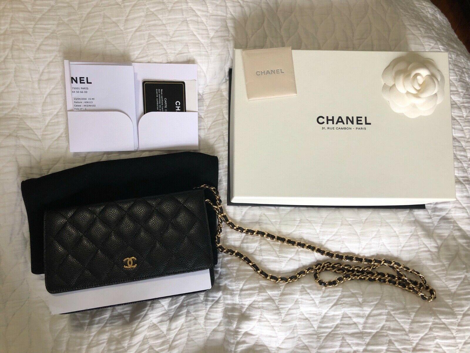 4c94cbfa62e3 Authentic Chanel Wallet on Chain Black Caviar Gold Hardware in Excellent  Cond.